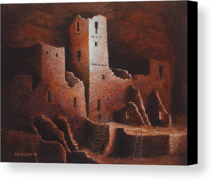 Anasazi Canvas Print featuring the painting Cliff Palace by Jerry McElroy
