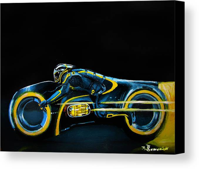 Clu Canvas Print featuring the painting Clu's Lightcycle by Kayleigh Semeniuk