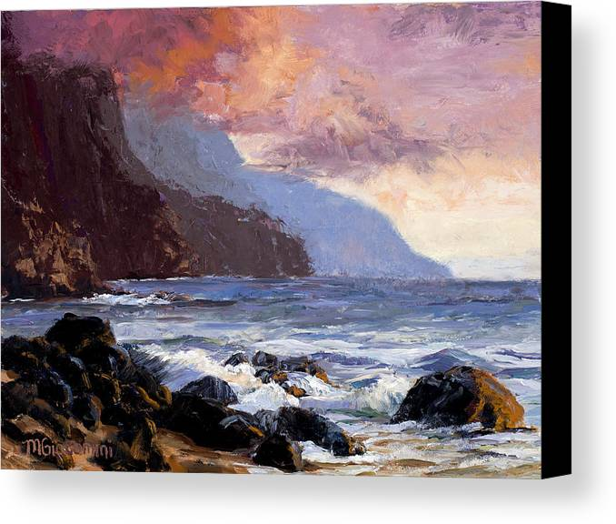 Ocean Canvas Print featuring the painting Coastal Cliffs Beckoning by Mary Giacomini