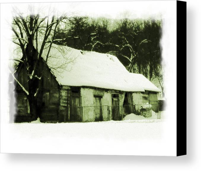 Snow Canvas Print featuring the photograph Countryside Winter Scene by Nina Ficur Feenan