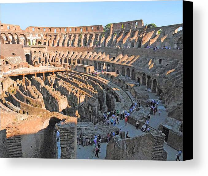 Canvas Print featuring the photograph Coliseum 11 by Herb Paynter