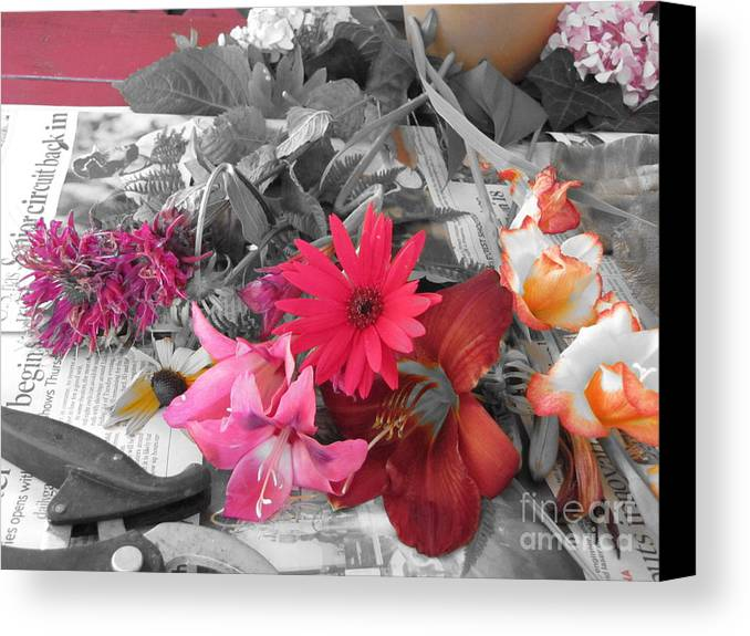 Black And White Canvas Print featuring the photograph Color Accents by Todd Schworm