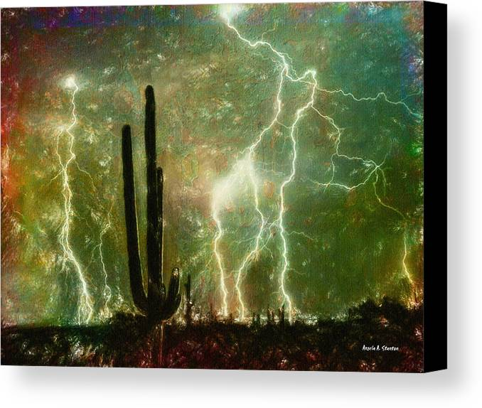 Bright Canvas Print featuring the painting Computer Generated Image Of Lightening by Angela A Stanton