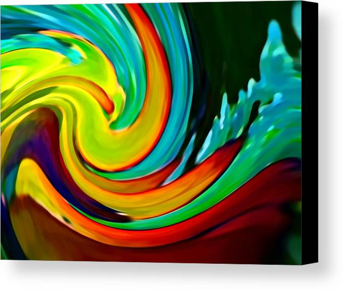 Waves Canvas Print featuring the painting Crashing Wave by Amy Vangsgard