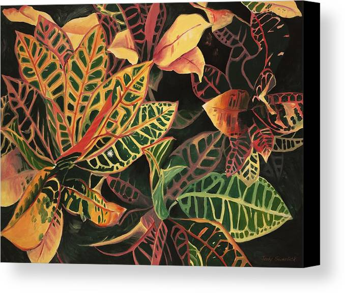Croton Leaves Canvas Print featuring the painting Croton Leaves by Judy Swerlick