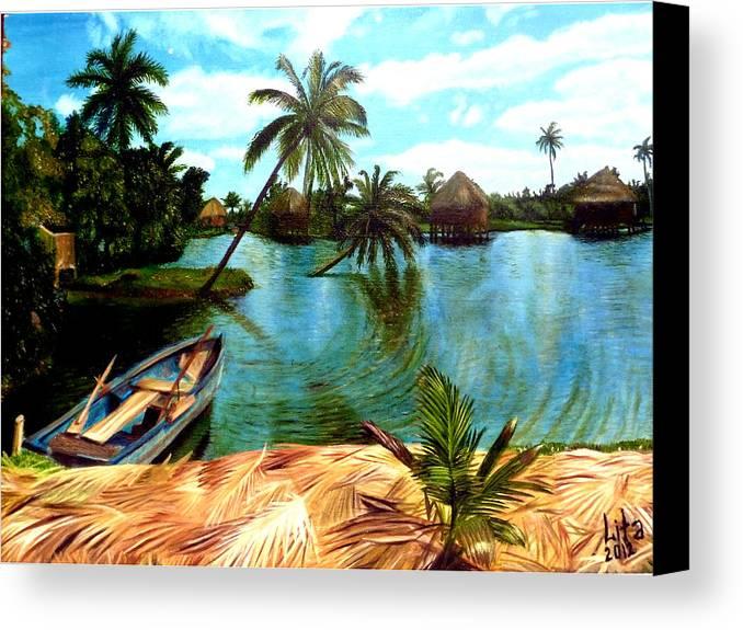Landscape Canvas Print featuring the painting Cuba by Lita Yulia Litvinova