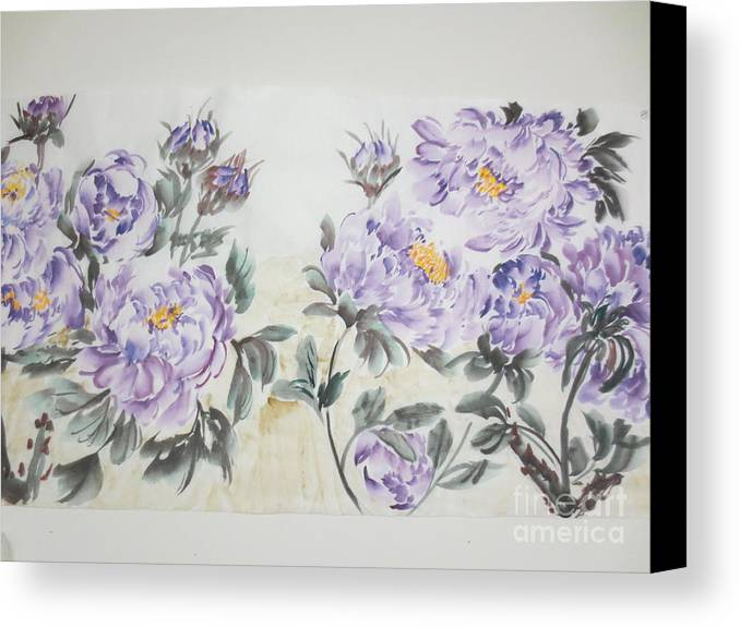Purple Canvas Print featuring the painting Dancing1020-1 by Dongling Sun