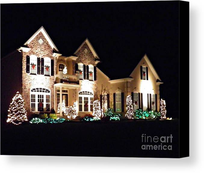 House Canvas Print featuring the photograph Decorated For Christmas by Sarah Loft