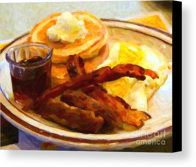 Breakfast Canvas Print featuring the photograph Denny's Grand Slam Breakfast - Painterly by Wingsdomain Art and Photography