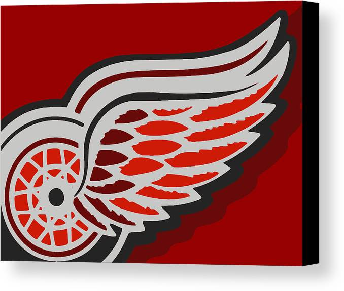 Detroit Canvas Print featuring the painting Detroit Red Wings by Tony Rubino