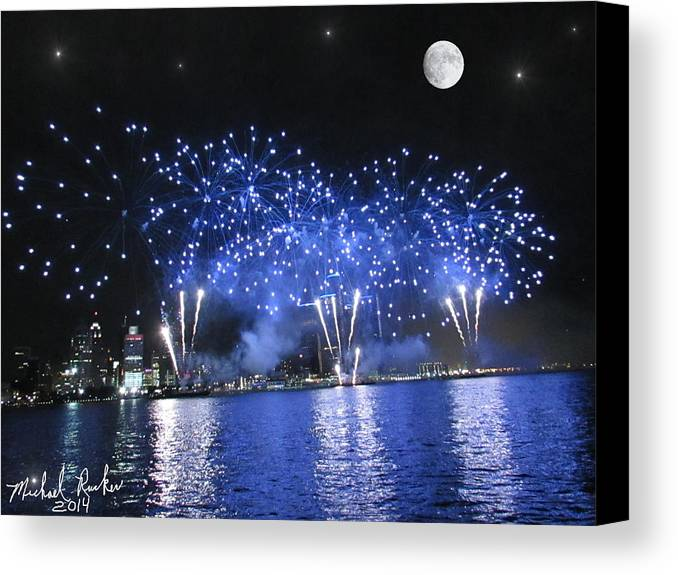 Detroit Canvas Print featuring the photograph Detroit River Fireworks by Michael Rucker