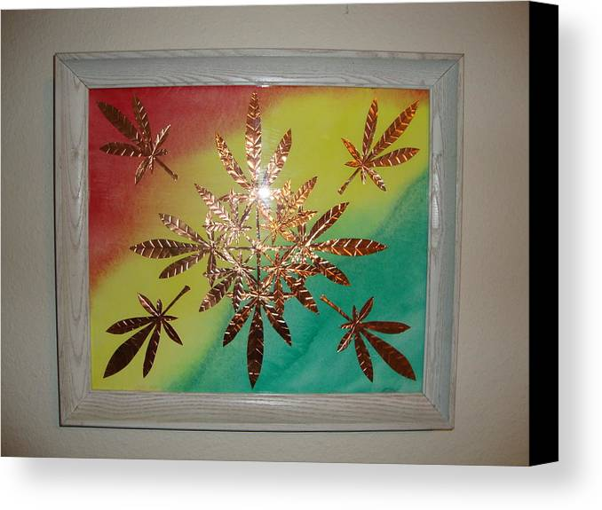 Red Canvas Print featuring the mixed media Dream Leaves One by Scott Faucett
