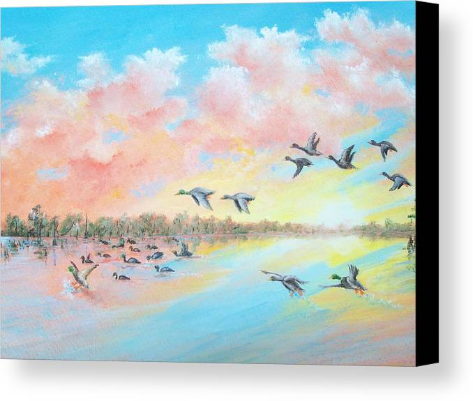 Landscape Canvas Print featuring the painting Ducks Two by Dennis Vebert