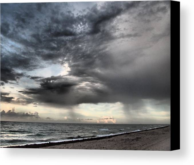 Clouds Canvas Print featuring the photograph Early Am Storm At The Beach by Jim Rabenstine