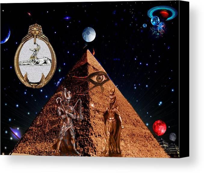 Digital Canvas Print featuring the digital art Egyptian Temple by Jason Saunders