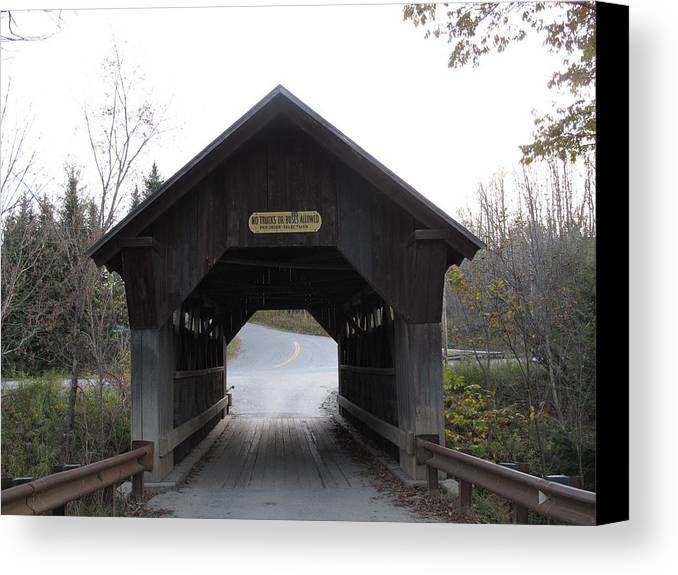 Covered Bridge Canvas Print featuring the photograph Emily's Bridge Stowe Vermont by Barbara McDevitt