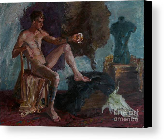 Man Canvas Print featuring the painting Etude 51 by Sergey Sovkov