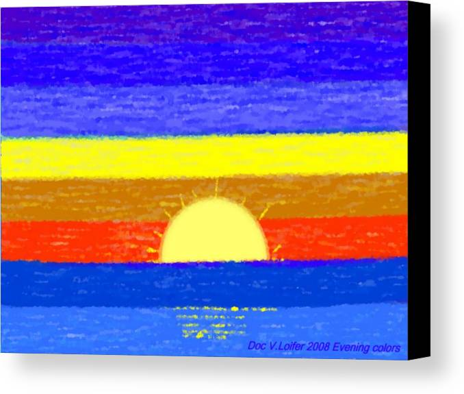 Evening.sky.stars.colors.violet.blue.orange.yellow.red.sea.sunset.sun.sunrays.reflrction. Ater. Canvas Print featuring the digital art Evening Colors by Dr Loifer Vladimir