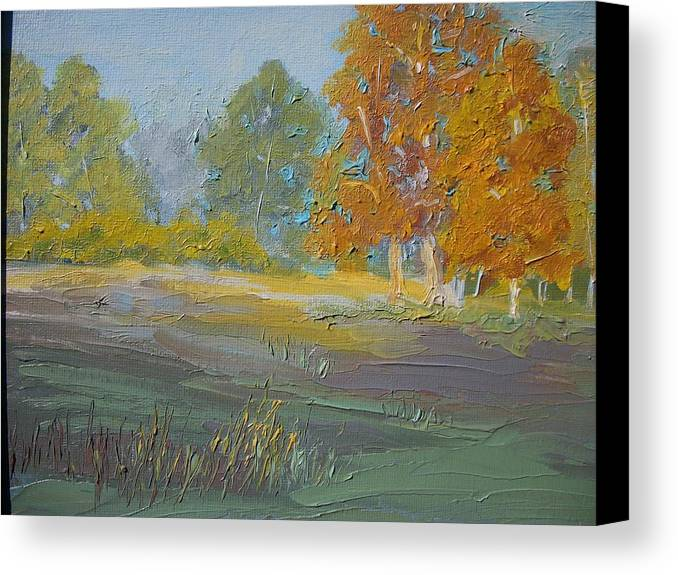 Landscape Canvas Print featuring the painting Fall Field by Dwayne Gresham