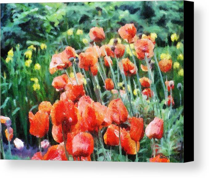 Canadian Canvas Print featuring the painting Field Of Flowers by Jeffrey Kolker