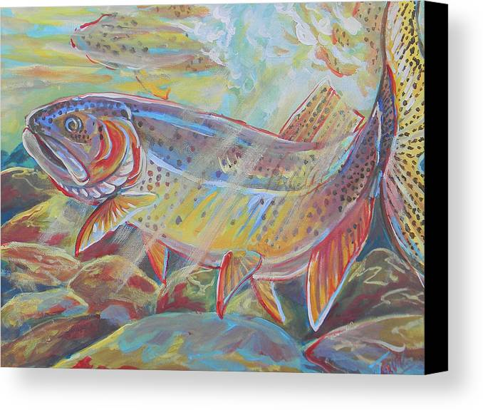 Fish Canvas Print featuring the painting Fine Spotted Cutthroat Trout by Jenn Cunningham