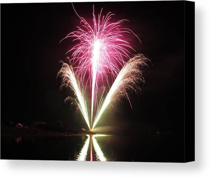 Garrison Cove Canvas Print featuring the photograph Fireworks At Cooks by Donnie Freeman