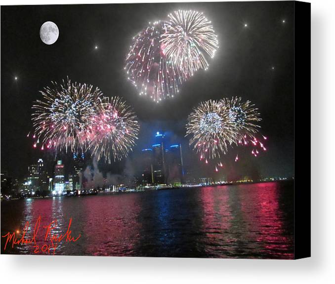 Detroit Canvas Print featuring the photograph Fireworks Over Detroit by Michael Rucker