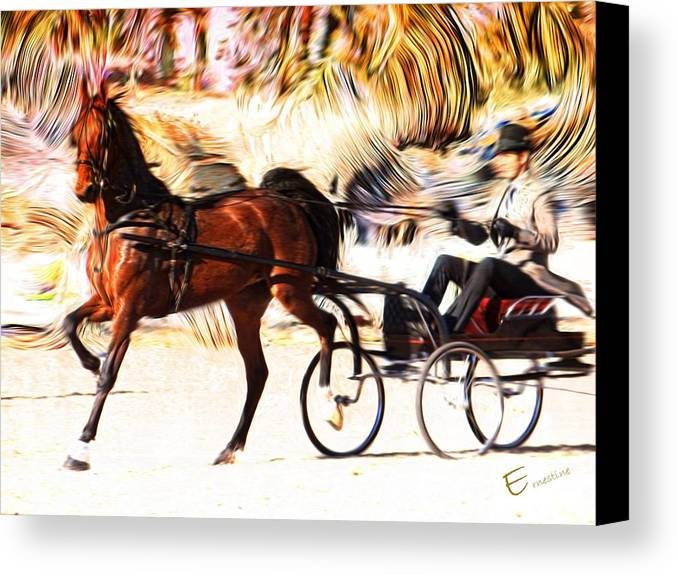 Equine Art Prints For Sale Canvas Print featuring the mixed media Flaming Victory by Ernestine Manowarda