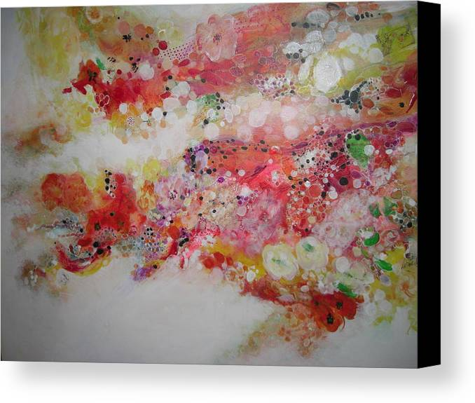 Abstracted Flowers In Reds Canvas Print featuring the painting Floral Escape by Kathleen Dentinger