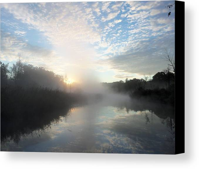 Michigan Canvas Print featuring the photograph Fog Covered River by Two Bridges North
