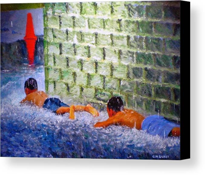 Boy Canvas Print featuring the painting Follow The Leader by Michael Durst