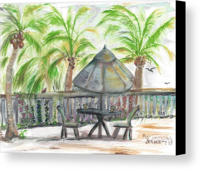 Fort Lauderdale Canvas Print featuring the painting Fort Lauderdale By The Sea by Bernadette Krupa