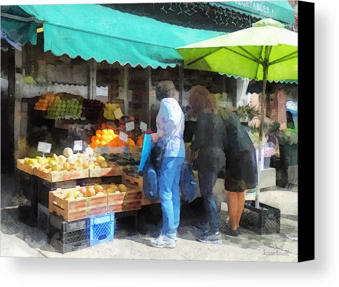 Fruit Canvas Print featuring the photograph Fruit For Sale Hoboken Nj by Susan Savad