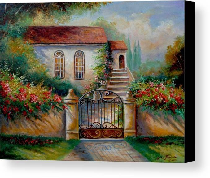 Garden Scene With Villa And Gate Print Canvas Print featuring the painting Garden Scene With Villa And Gate by Regina Femrite
