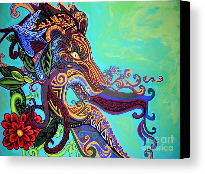 Lion Canvas Print featuring the painting Gargoyle Lion 3 by Genevieve Esson