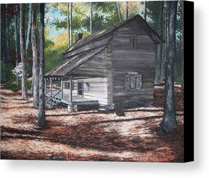 Georgia. Cabin Canvas Print featuring the painting Georgia Cabin In The Woods by Beth Parrish