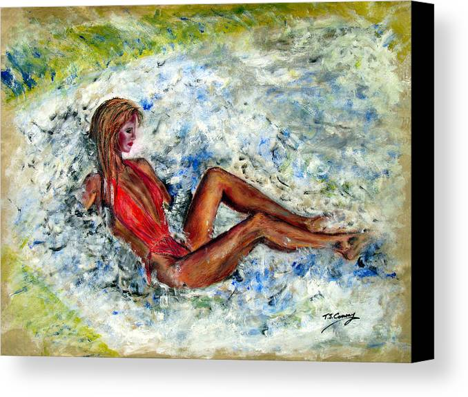 Girl Canvas Print featuring the painting Girl In A Red Swimsuit by Tom Conway