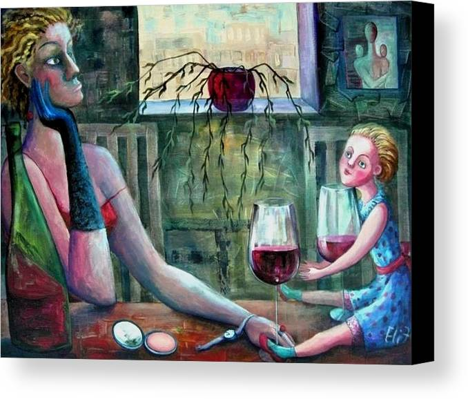Woman Canvas Print featuring the painting Girls Party by Elisheva Nesis