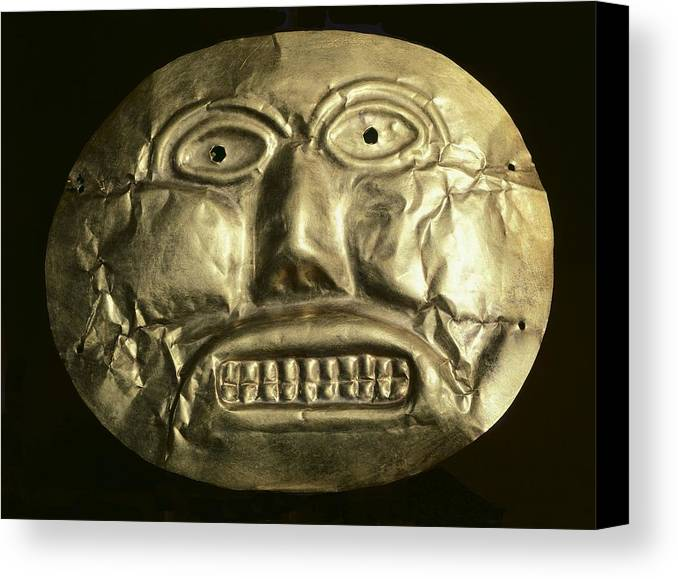 Horizontal Canvas Print featuring the photograph Gold Ceremonial Mask. Calima Art by Everett