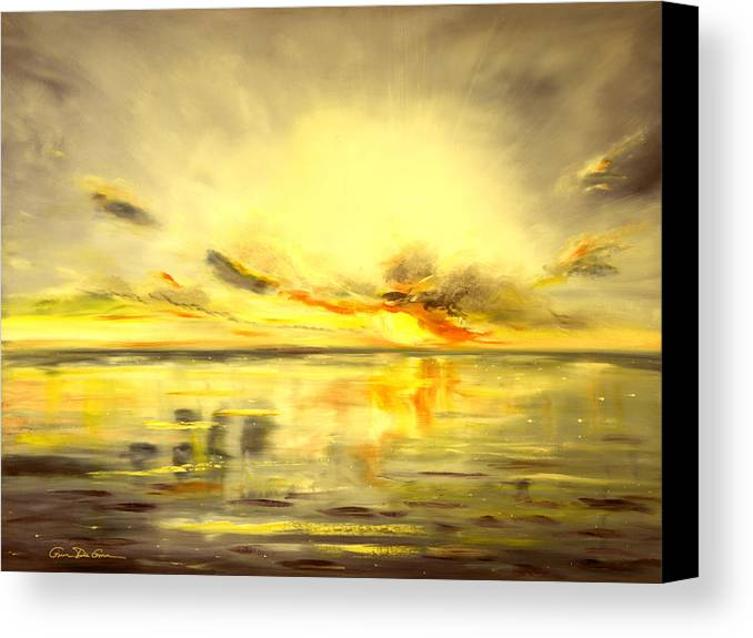 Sunset Canvas Print featuring the painting Golden Sunset by Gina De Gorna