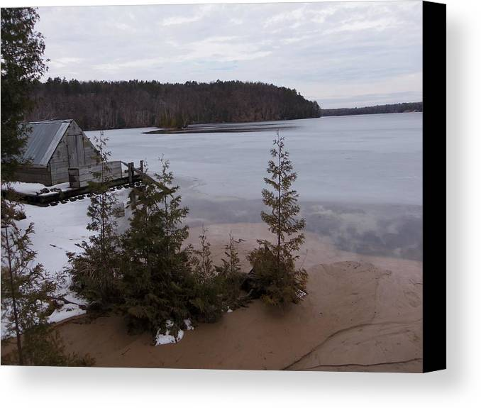 Boat Canvas Print featuring the photograph Hale Michigan by Two Bridges North