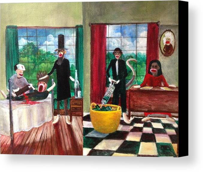 Obama Canvas Print featuring the painting Healthcare Then And Now by Randy Burns