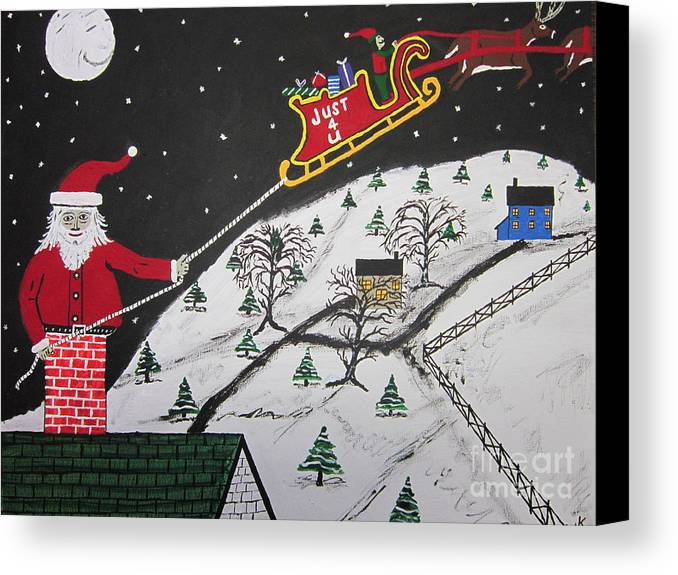 Canvas Print featuring the painting Help Santa's Stuck by Jeffrey Koss