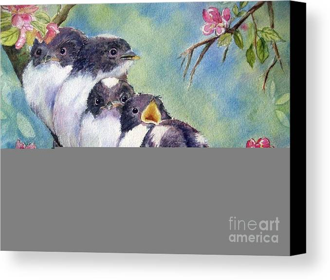 Baby Birds Canvas Print featuring the painting Home Alone by Patricia Pushaw
