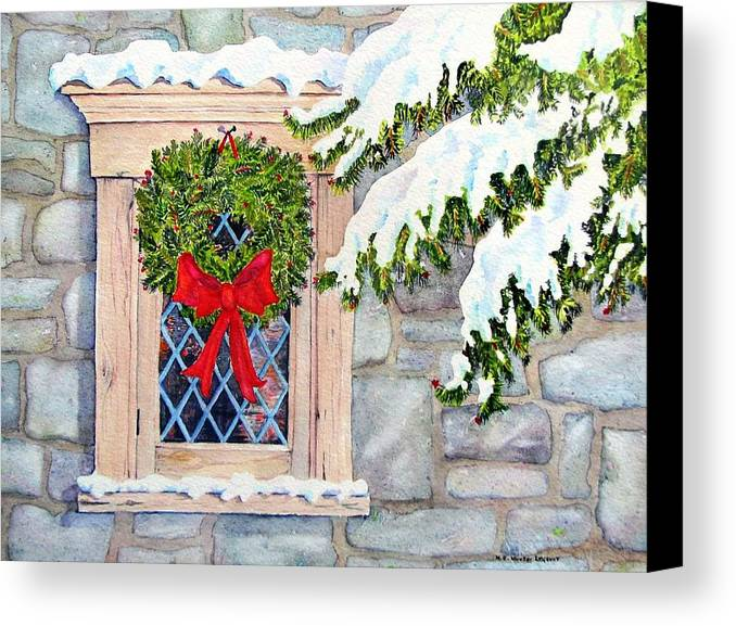 Holidays Canvas Print featuring the painting Home For The Holidays by Mary Ellen Mueller Legault