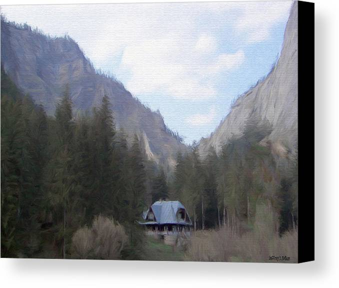 Alone Canvas Print featuring the painting Home In The Mountains by Jeffrey Kolker