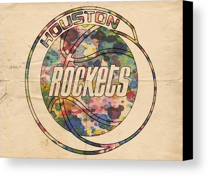 Houston Rockets Canvas Print featuring the painting Houston Rockets Vintage Poster by Florian Rodarte