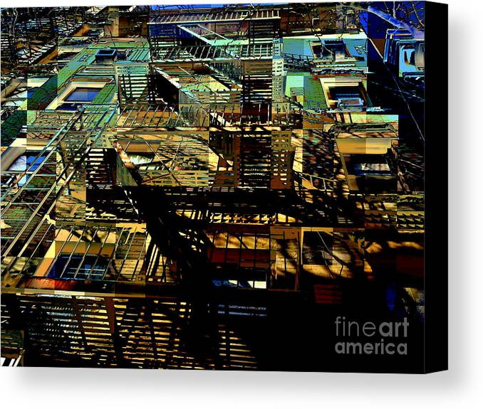 Fire Escapes Canvas Print featuring the photograph In Perspective - Fire Escapes - Old Buildings Of New York City by Miriam Danar