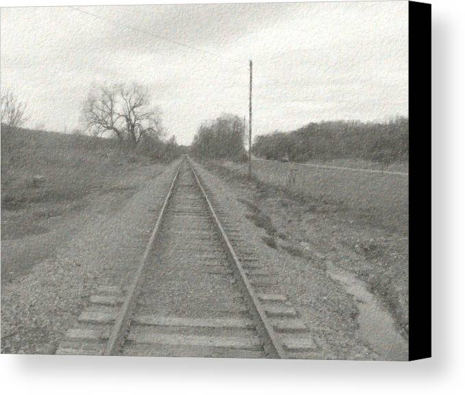 Train Canvas Print featuring the photograph In The Distance by Rhonda Barrett