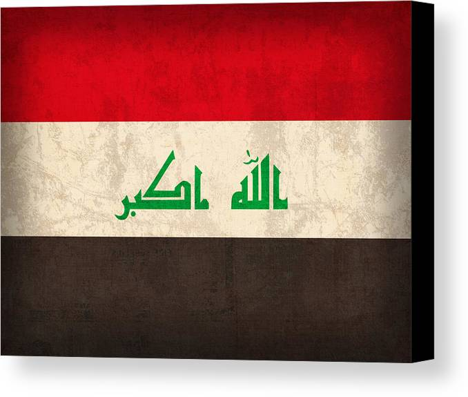 Iraq Canvas Print featuring the mixed media Iraq Flag Vintage Distressed Finish by Design Turnpike